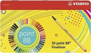 STABILO point 88 - Boite métal de 50 stylos-feutres pointe fine - Coloris assortis de la marque STABILO image 0 produit