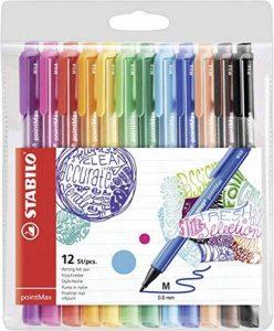 STABILO pointMax - Pochette de 12 stylos-feutres pointe moyenne en nylon - Coloris assortis de la marque STABILO image 0 produit