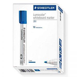 Staedtler 351 Marqueur effaçable à sec pour tableau blanc Pointe ogive Encre à base d'alcool Bleue Lot de 10 de la marque Staedtler image 0 produit