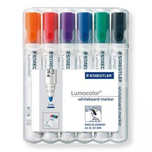 Staedtler Lumocolor 351, Marqueur pour tableau blanc effaçable à sec, Sans xylène ni toluène et quasi inodore, Set de 6 couleurs, pointe ogive 2 mm, 351 WP6 de la marque Staedtler image 0 produit
