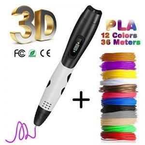 Stylo 3D avec Écran LCD, Fede Stylo d'Impression 3D avec 12*3M Fils multicolores Filament PLA de 1.75 mm (36 Mètres au total), cadeau idéal pour enfants, adultes de la marque Fede image 0 produit