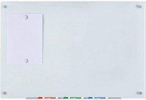 """Tableau en Verre Blanc Magnétique - 60 cm x 90 cm - 23 5/8"""" x 35 1/2"""" - Contient Tableau, 2 Aimants, et un Bac à Marqueurs Aluminium de la marque Mango Steam image 0 produit"""