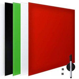 Tableau mémo tableau en verre magnétique et inscriptible–Stylet et aimants inclus–plusieurs couleurs & tailles, Verre, Bordeaux, 20x60 cm de la marque Artina image 0 produit