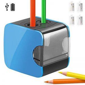 Taille crayon électrique professionnel, Qhui Taille-crayon petit automatique, Batterie et USB exploité avec conteneur, 4 lames de rechange, 2 trous pour enfant, enseignants, ingénieur, dessinateur, Bleu de la marque Qhui image 0 produit