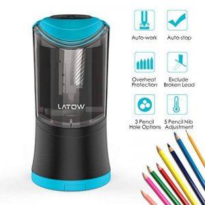 Taille-crayon électrique, LATOW Taille-crayon de 3 Trous avec Réservoir et Batterie USB Cble Rechargeable pour crayon de 8/10/12 mm applicable aux gauchers et aux droitiers de la marque LATOW image 0 produit