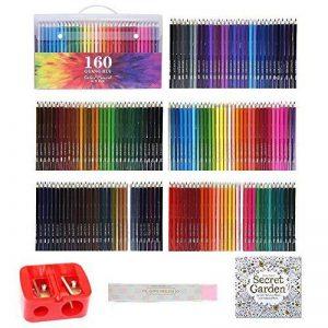 TOPmore 160 Crayons de Couleur Coloriage -Les meilleurs crayons pour enfants, adultes et artistes,Idéal pour tous les types de coloriage avec Taille Crayon,livre de peinture ,gomme de la marque TOPmore image 0 produit