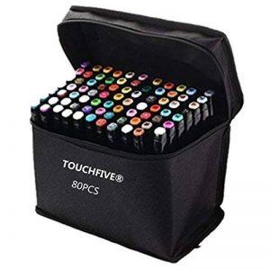 TOUCHFIVE Marker Lot de 80 marqueurs noir peinture dessin à double pointe Brush dans un sac (pour animation) de la marque Touchfive image 0 produit