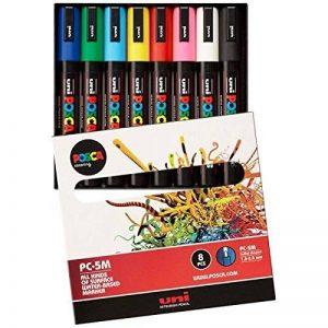 Uniball PC5M/8 UNI POSCA Pochette 8 marqueurs peinture à eau Pointe moyenne Assortis de la marque Uniball image 0 produit