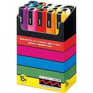 Uniball PC5M15 UNI POSCA Boite 15 marqueur peinture Base eau pointe moyenne ogive Assorties de la marque Uniball image 0 produit