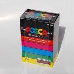Uniball PC5M15 UNI POSCA Boite 15 marqueur peinture Base eau pointe moyenne ogive Assorties de la marque Uniball image 1 produit