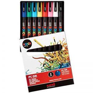 Uniball Uni Posca PC3M/8 Pochette 8 marqueurs peinture à eau Encre pigmentation assortie Pointe fine de la marque Uniball image 0 produit