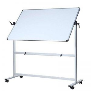 VIZ-PRO Tableau blanc mobile pivotant magnétique Double face, cadre en aluminium 1100x750mm de la marque VIZ-PRO image 0 produit
