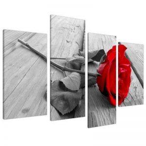 Wallfillers Tableau sur Toile - Fleur Rose - Rouge, Noir et Blanc - 4 Parties Canvas 4005 de la marque Wallfillers image 0 produit