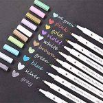 WCOCOW Métallique marqueur stylos, Lot de 10 couleurs, Métallique Couleur Peinture marqueur pour cadeau, la fabrication de cartes DIY Album photo+8 Papier Kraft Noir (Round Tip) de la marque WCOCOW image 1 produit